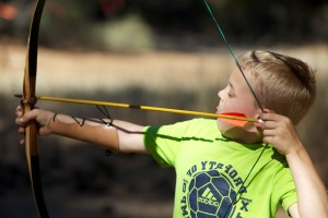 child, boy, bow, arrow
