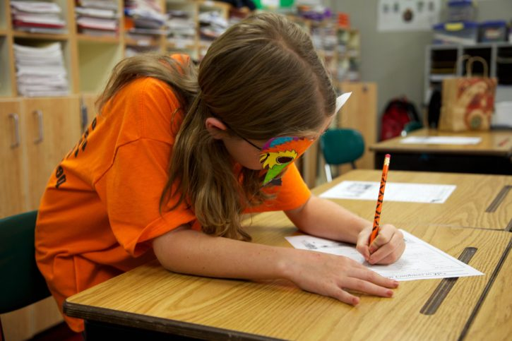 child, girl, mask, face, classroom, education