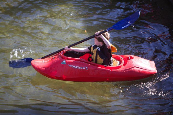 child, kayak, young, boy, sport