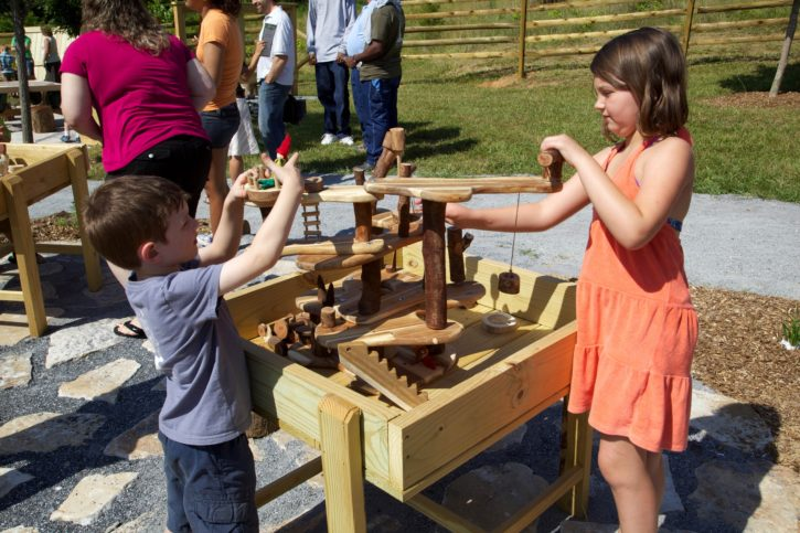 children, playing, outside, wooden, interactive, toy