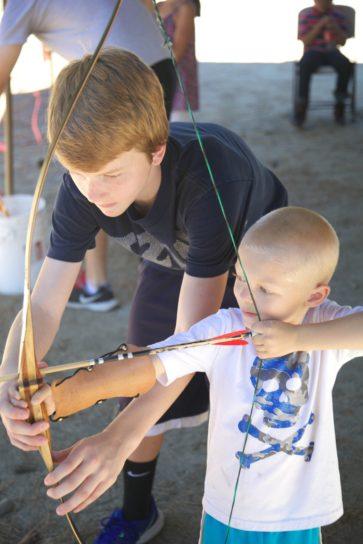 children, shooting, bow, arrow