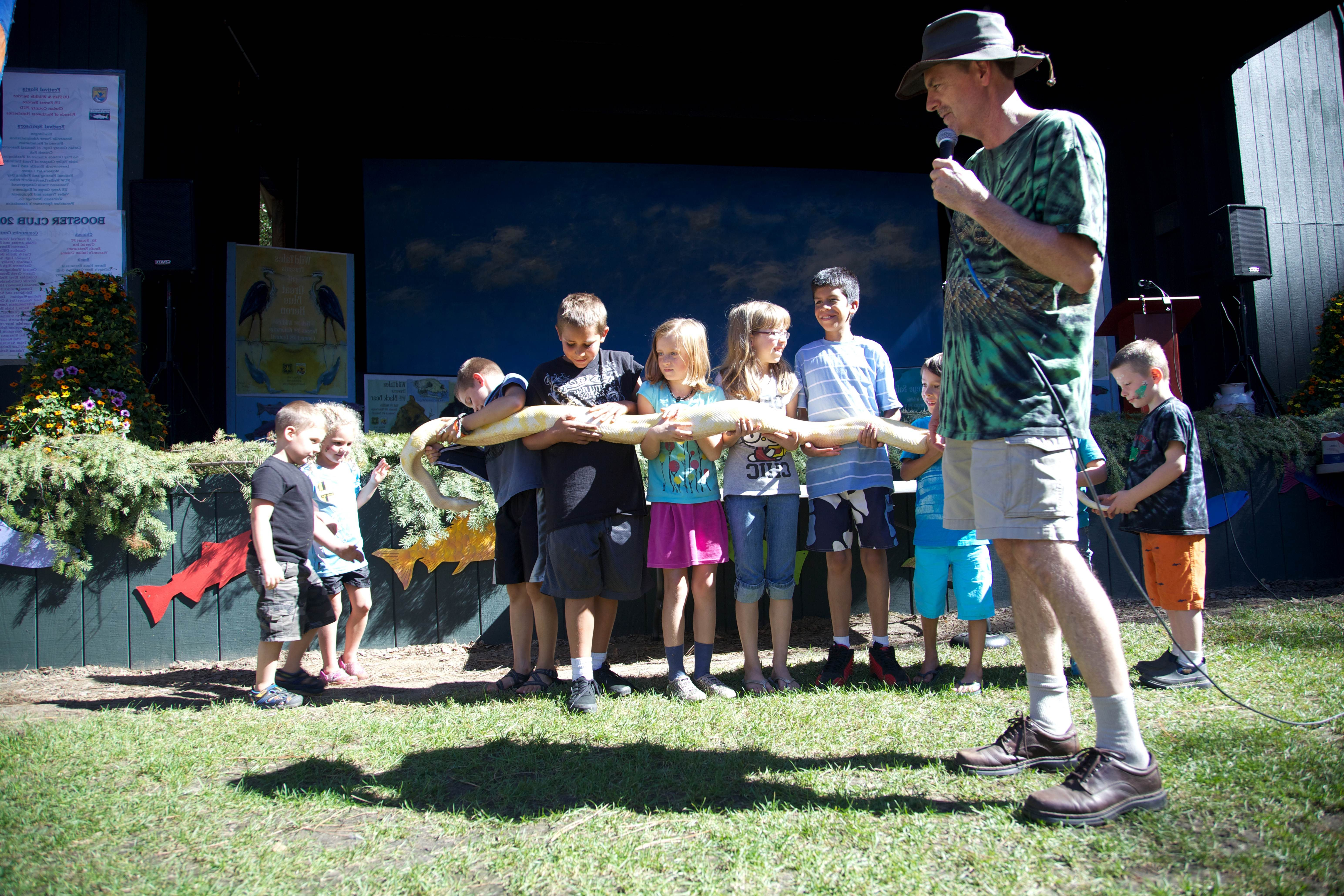 Free photograph; children, playing, snake, outdoor