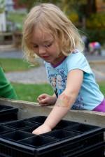 cute, blonde, girl, planting, seeds, pot