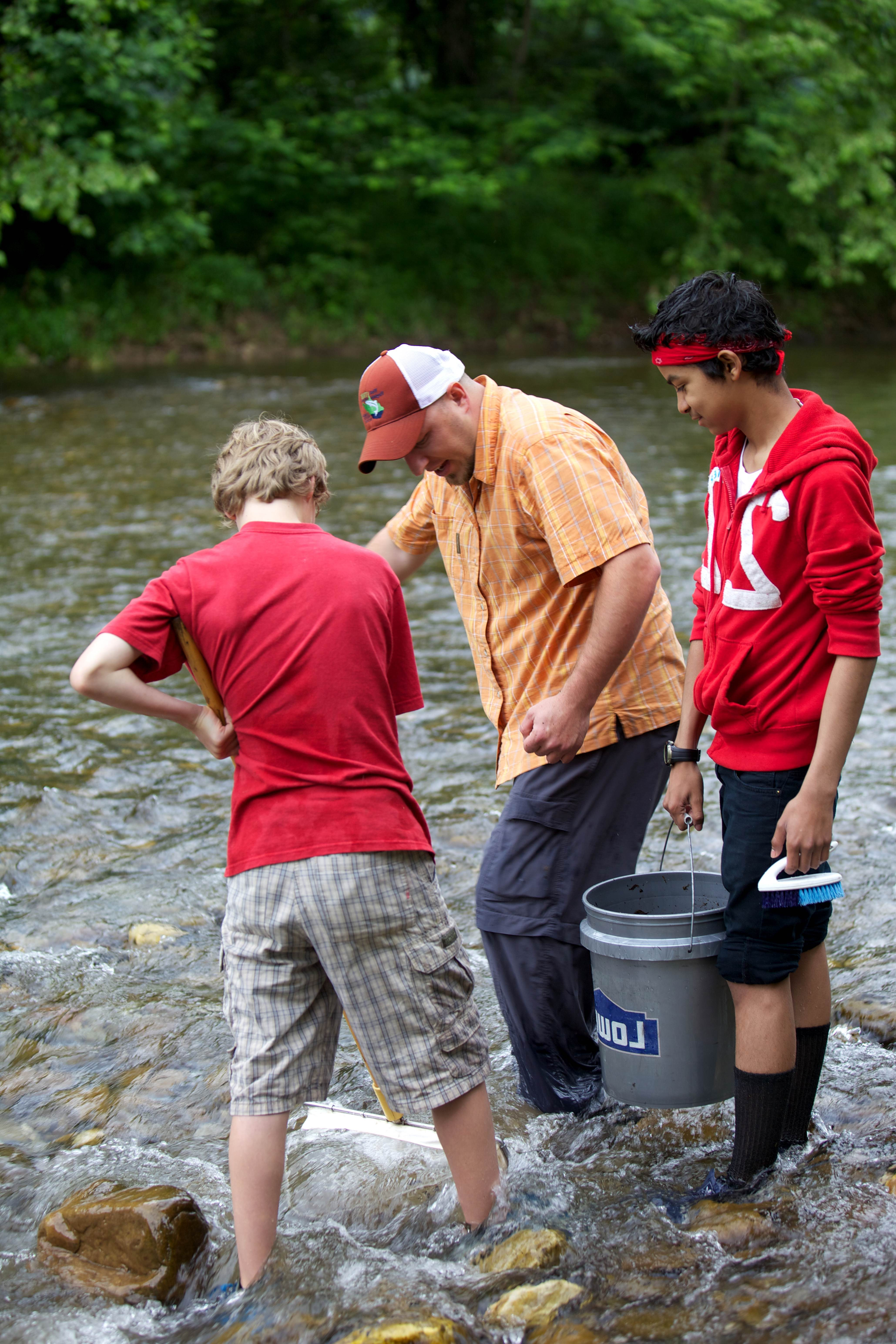 Free photograph; educator, students, collecting, macroinvertebrates