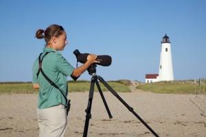 female, photographer, beach, sand