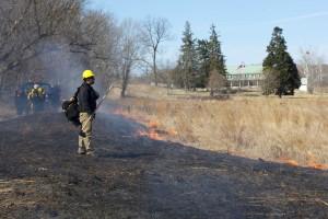 fuego, equipo, bomberos, tripulación, quemadura