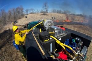 bombero, equipo, supervisión, camión, fuego