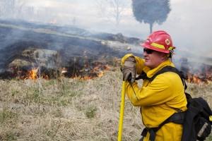 pompier, vigilant, oeil, le feu