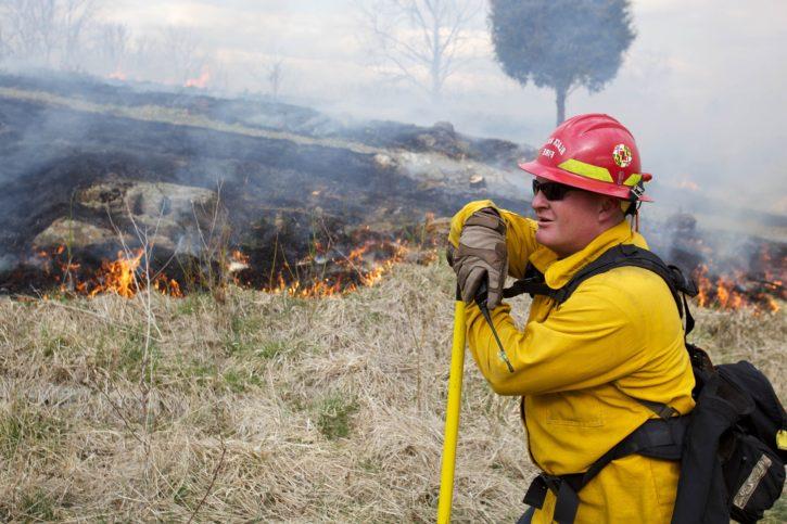 firefighter, keeping, watchful, eye, fire