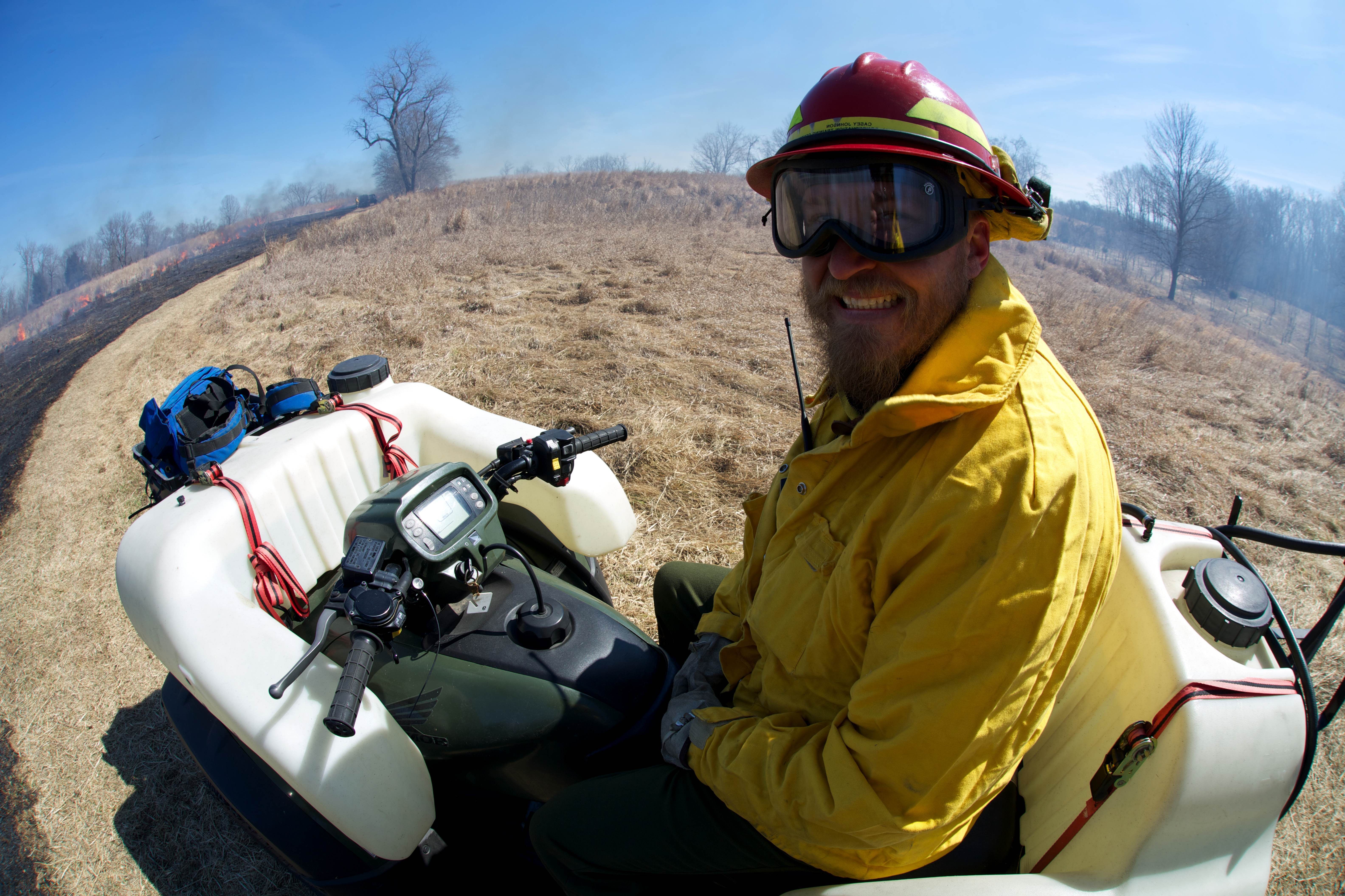 Free photograph; firefighter, monitoring, prescribed, burn