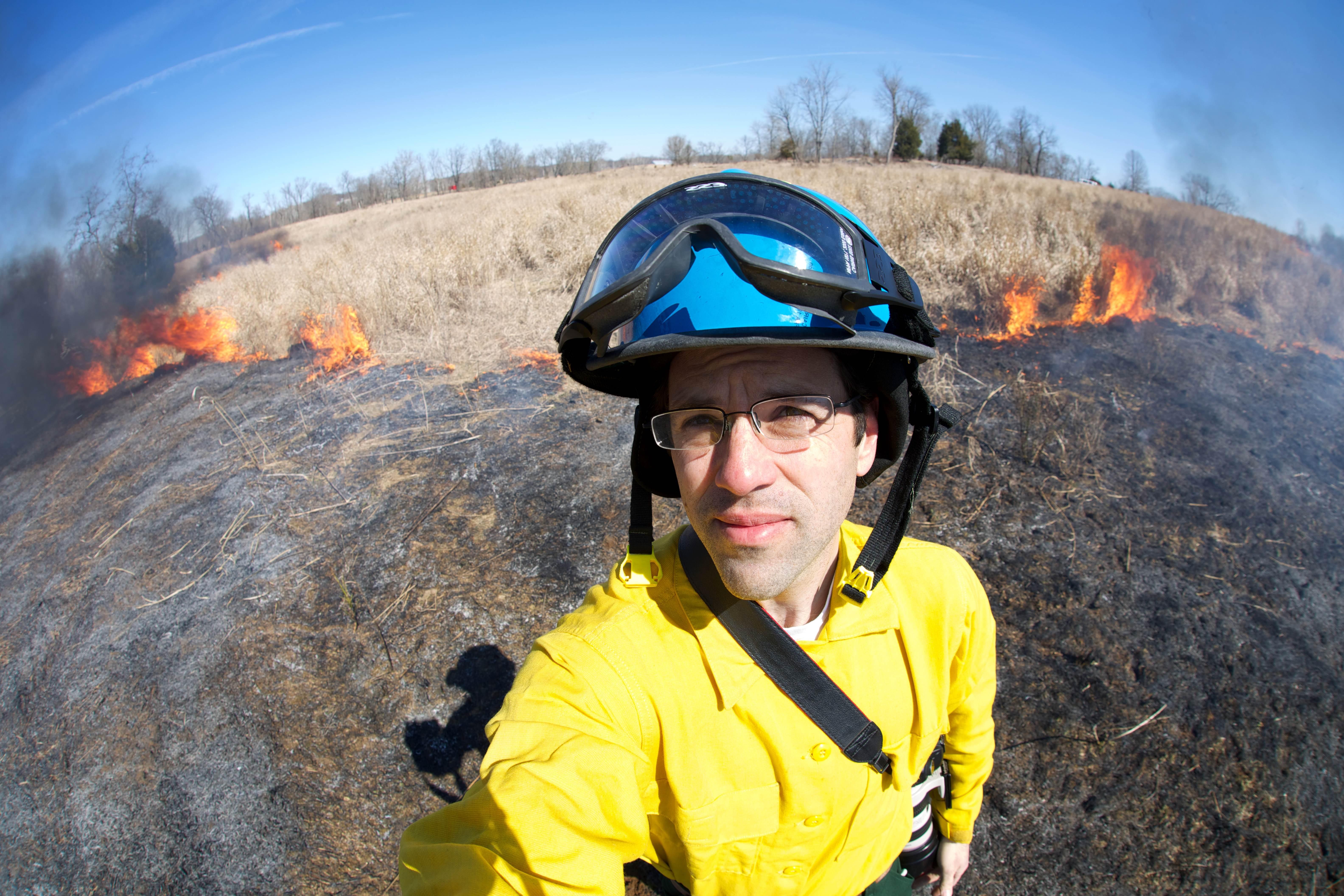 Free photograph; firegighter, fire, selfie, picture