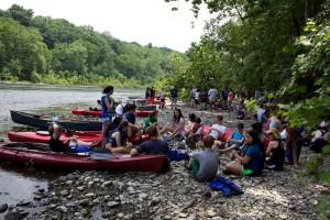 kayak, repos, gens, foule