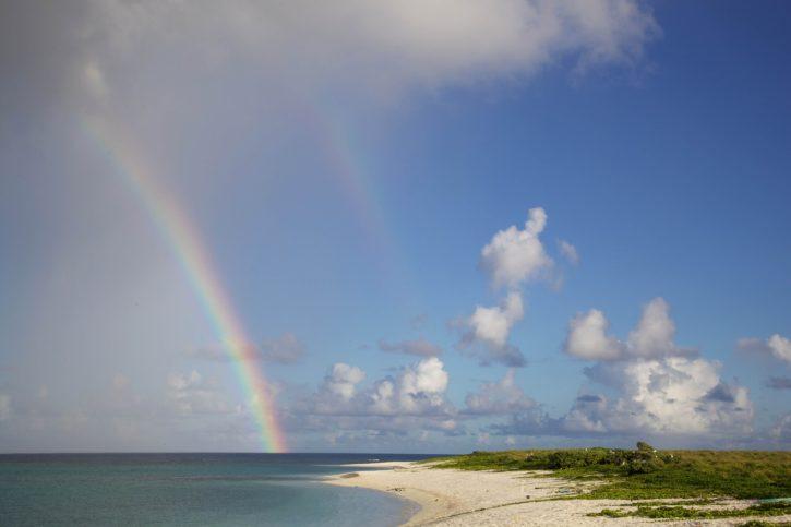 rainbow, beach, island, sand, summer, time