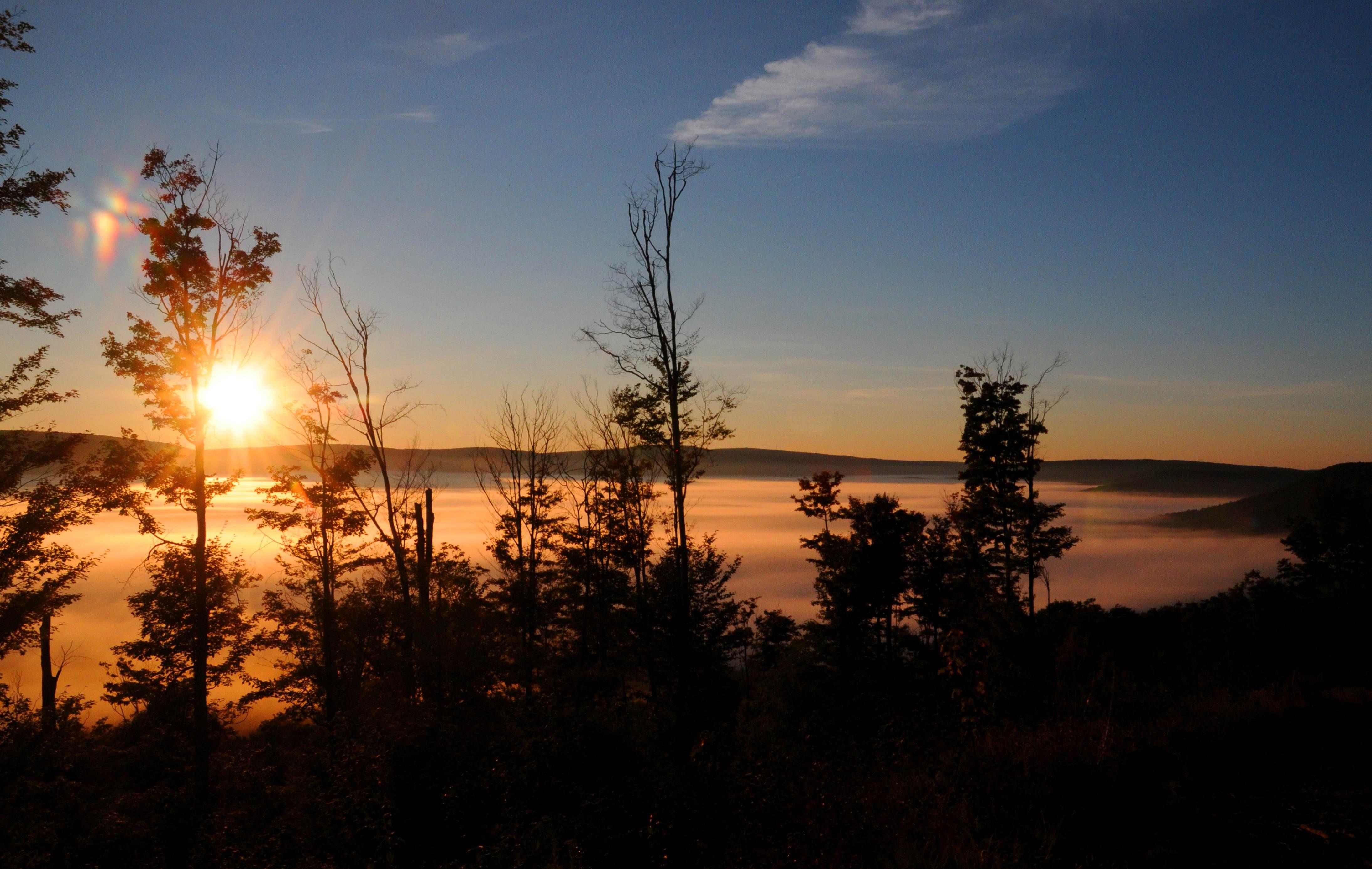Free photograph; sunrise, scenic, mountains, hills