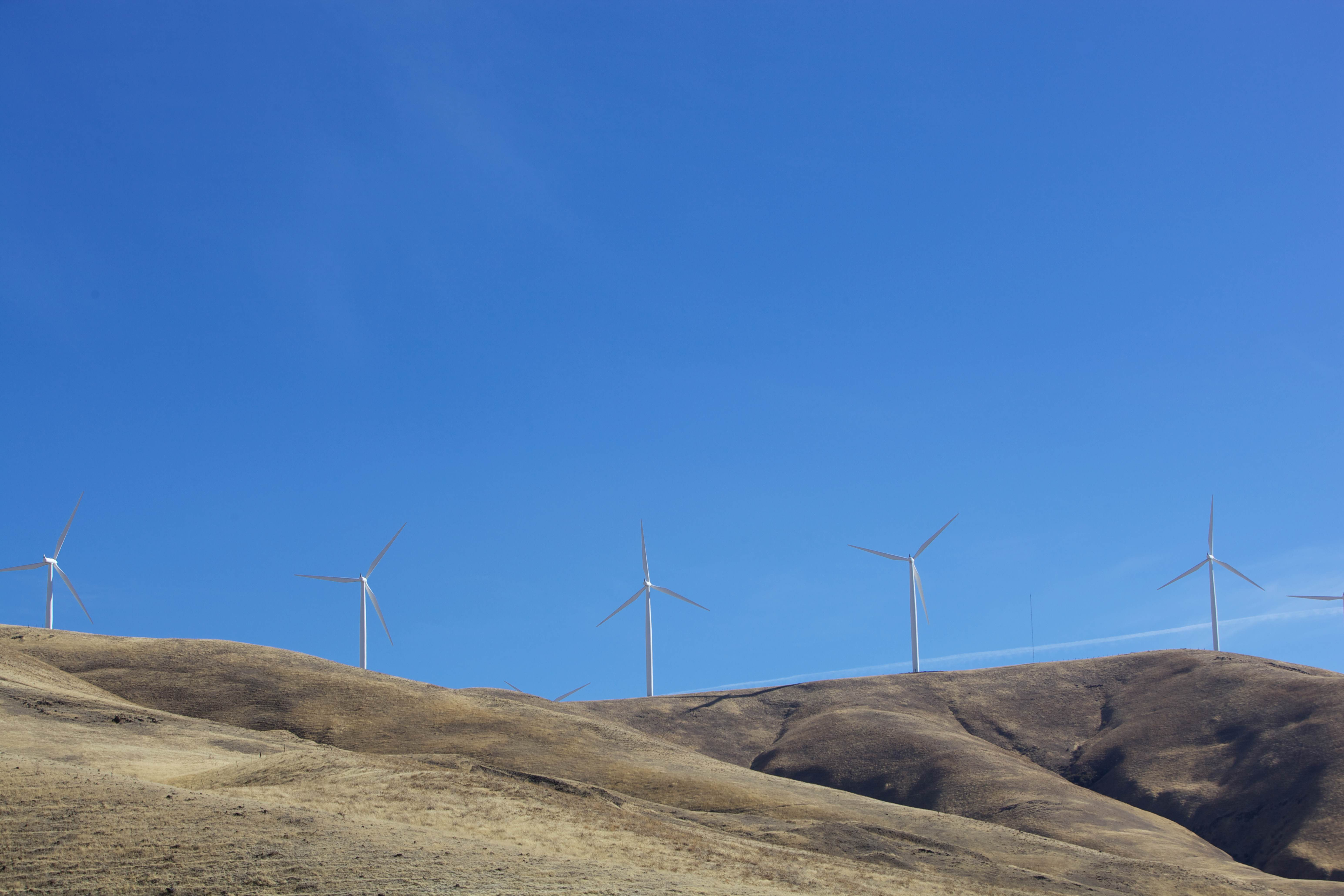 Free photograph; wind, turbines, create, energy, Columbia, river, basin