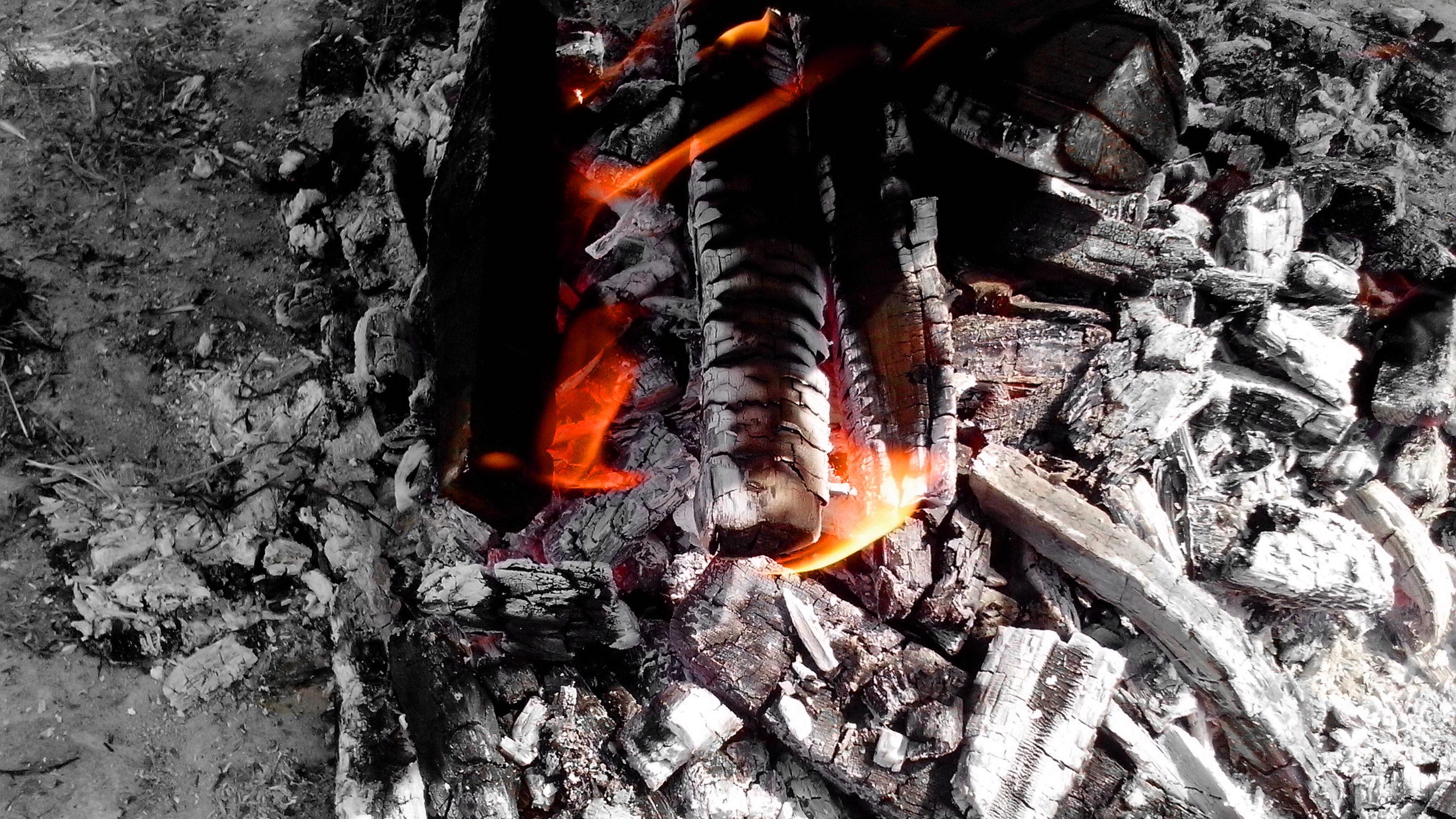 Free photograph; firebrand, flame, fire