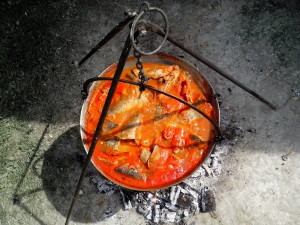 fish, stew, food, caldron