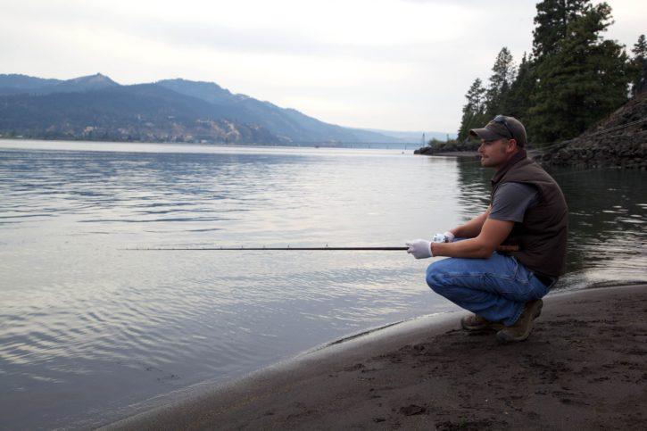 fisherman, fishing, river, shore