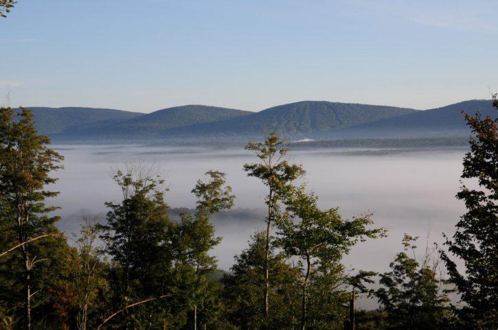 fog, mountains, trees, hills, sunrise