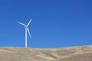 un, blanc, éolienne, l'électricité
