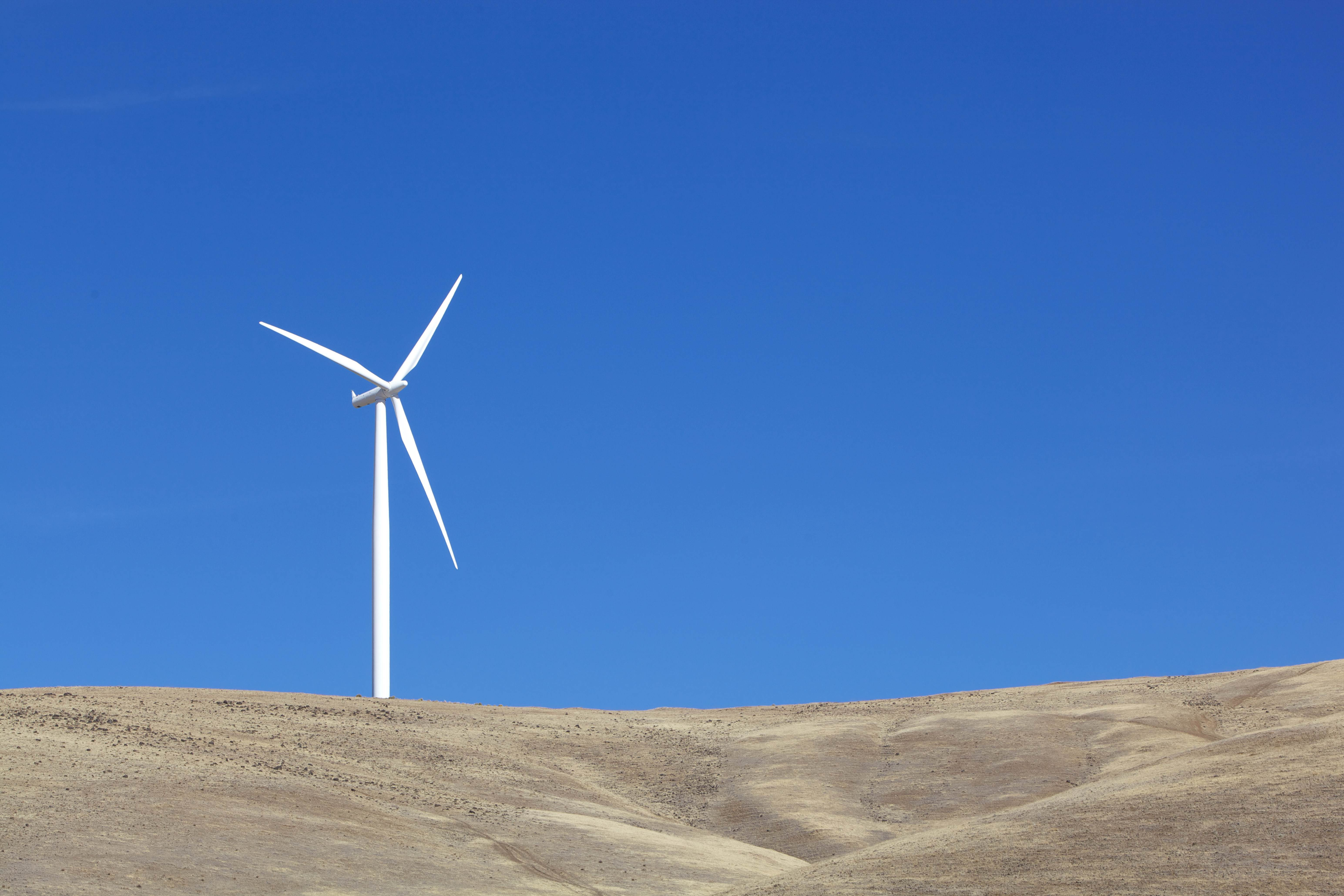 Free photograph; one, white, wind, turbine, electricity
