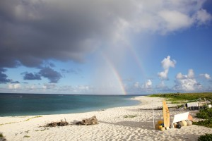 rainbow, summer, beach, sand