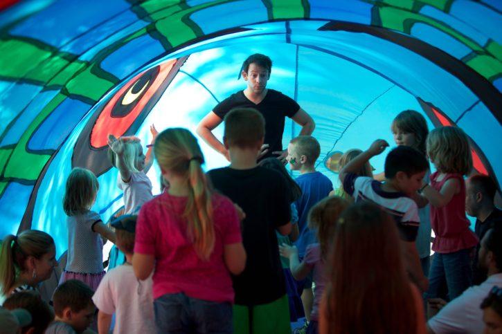 tent, children, fun, playing