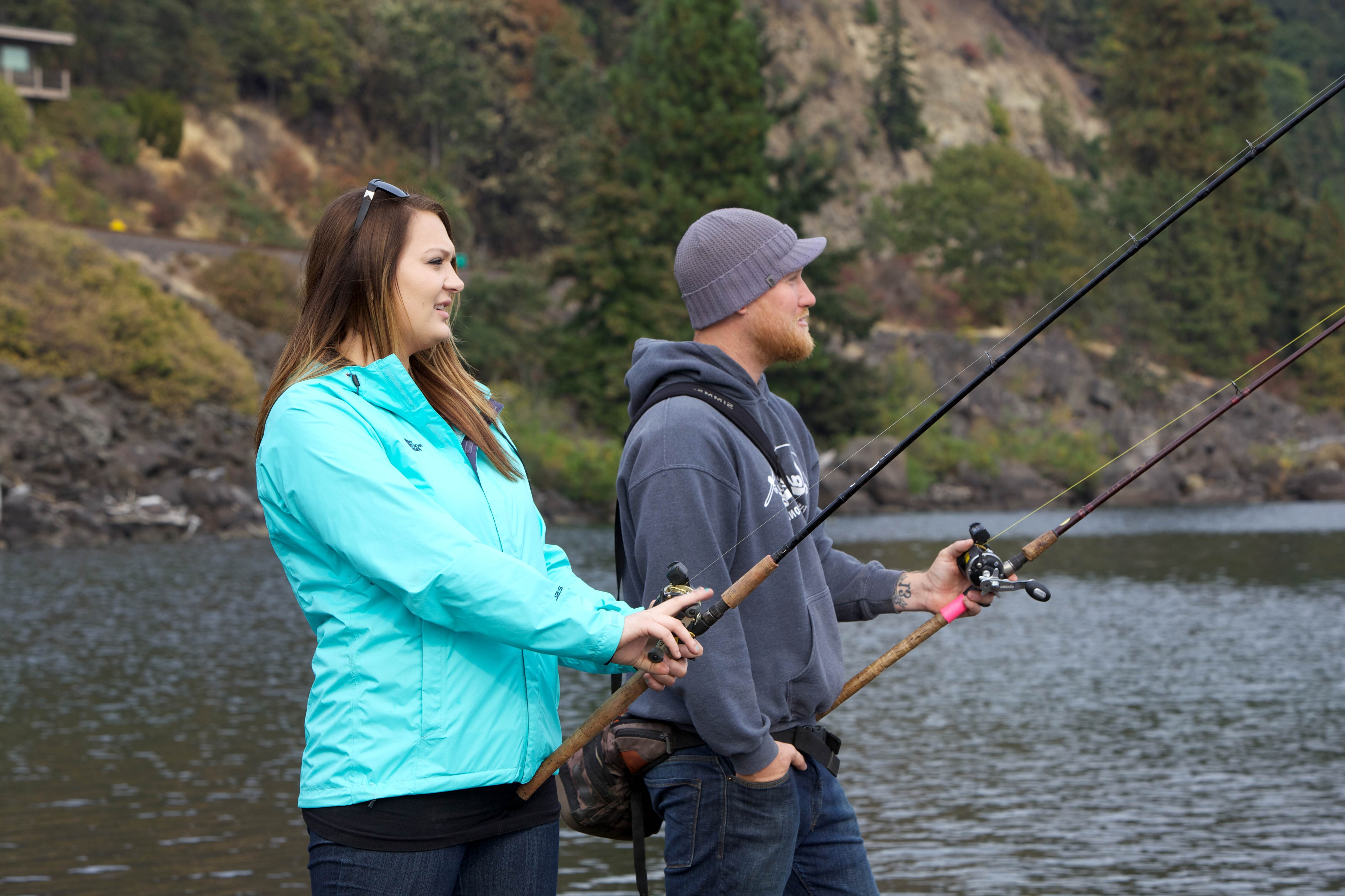 Free photograph; two, teenagers, couple, moder, fishing