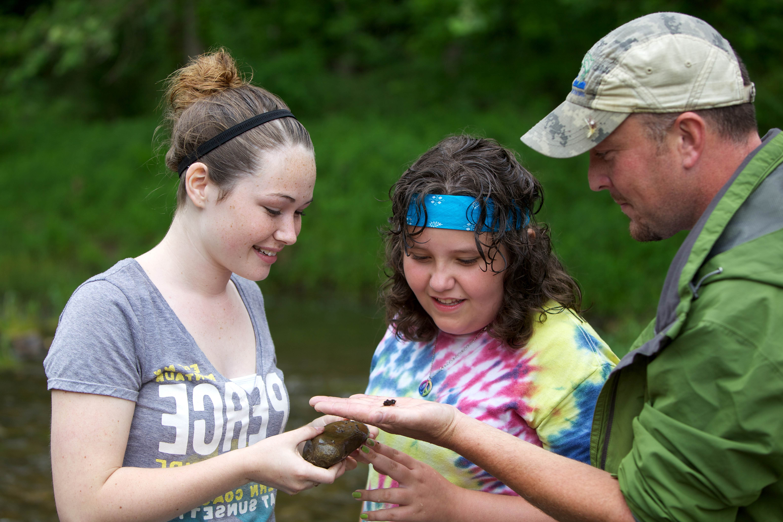 Free photograph; two, teen, girls, learning, macroinvertebrates