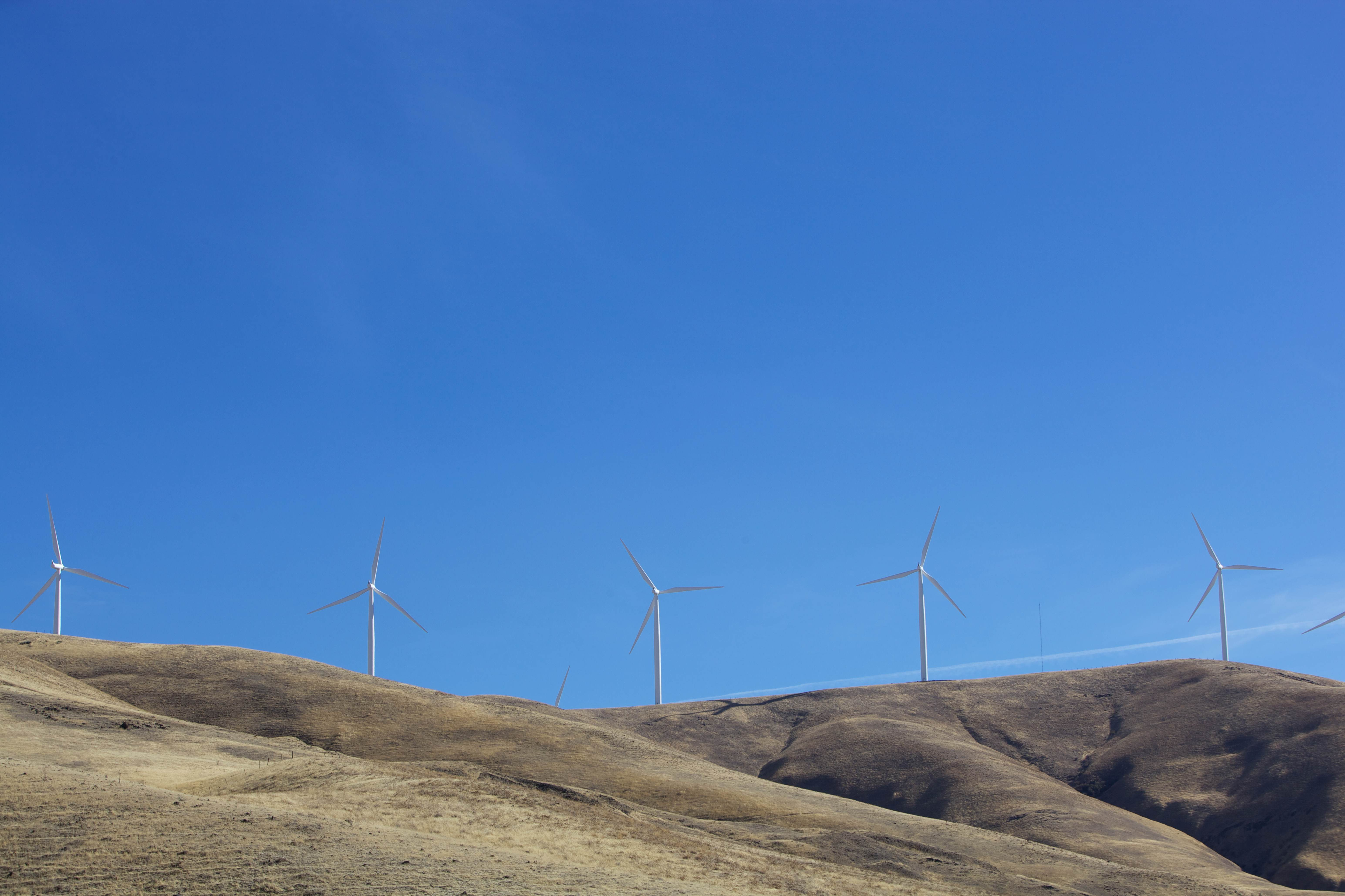 Free photograph; wind, turbines, hills, mountains