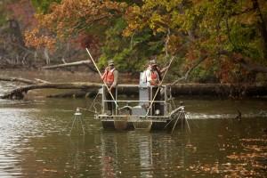 pêche, électropêche, rivière, bateau