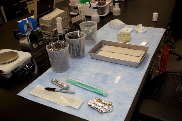 laboratory, center, table