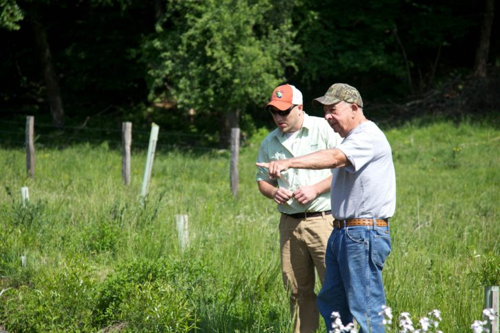 landowner, discussing, restoration, stream