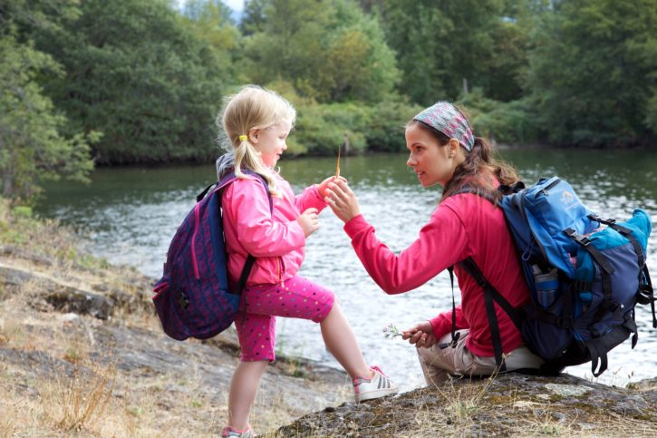 mother, daughter, nature, family, backpack