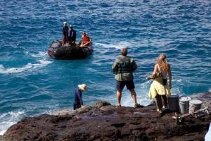 ljudi, mora, stjenovite, obale, čamac, more
