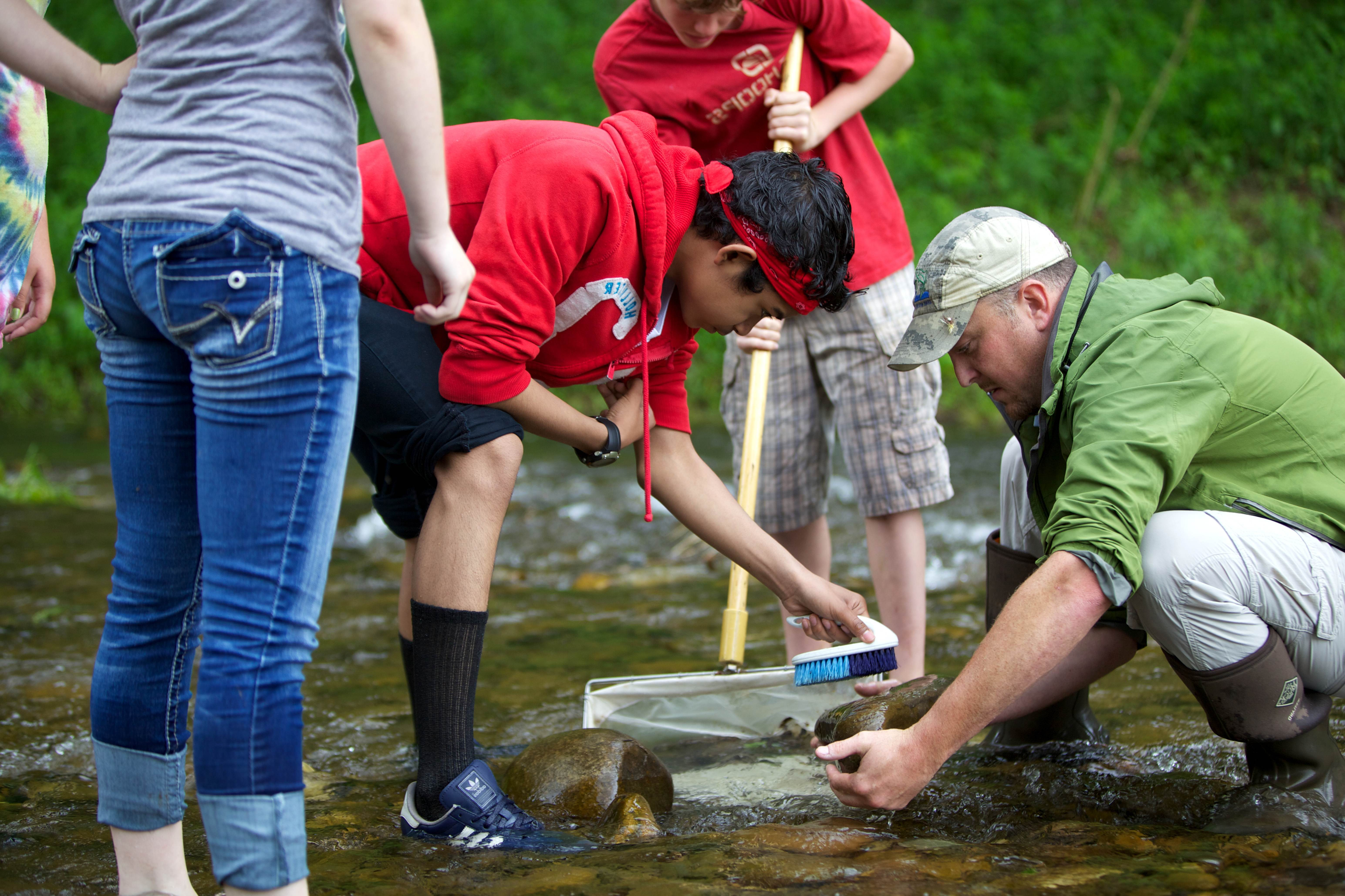 Free photograph; school, children, test, water, quality, chemistry, water, river