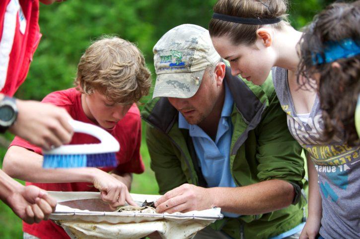 teacher, students, outdoor