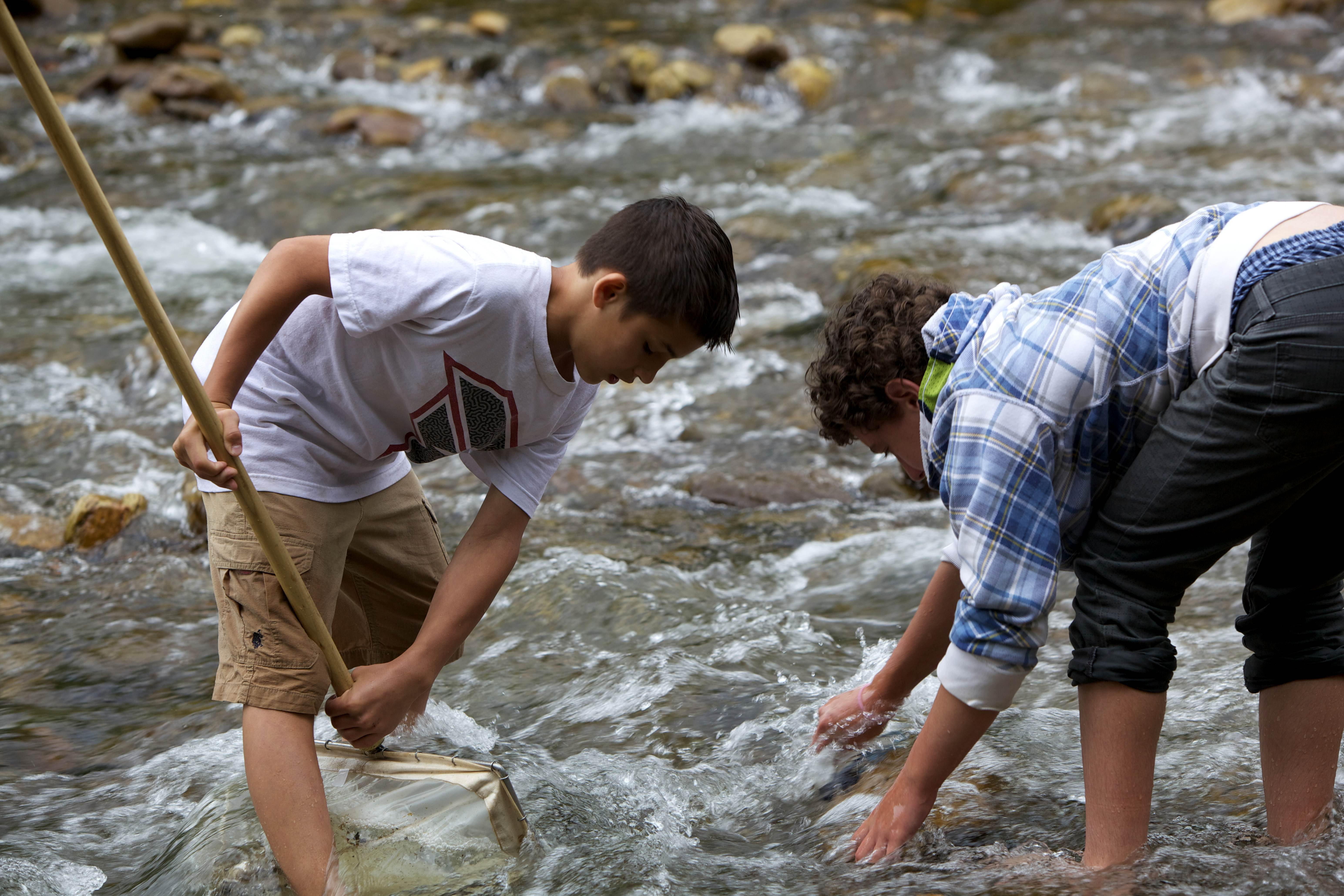 Free photograph; two, boys, playing, river, shore, coast