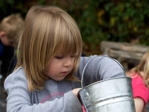 mladé dievča, vedierko, orechy
