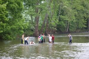 Gruppe, Studenten, Spaß, Wasser
