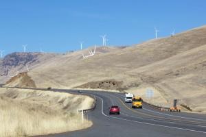 highway, wind turbines, cars, road