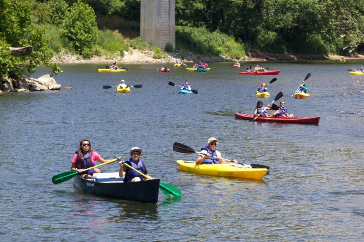 kayak, rivière, bassin