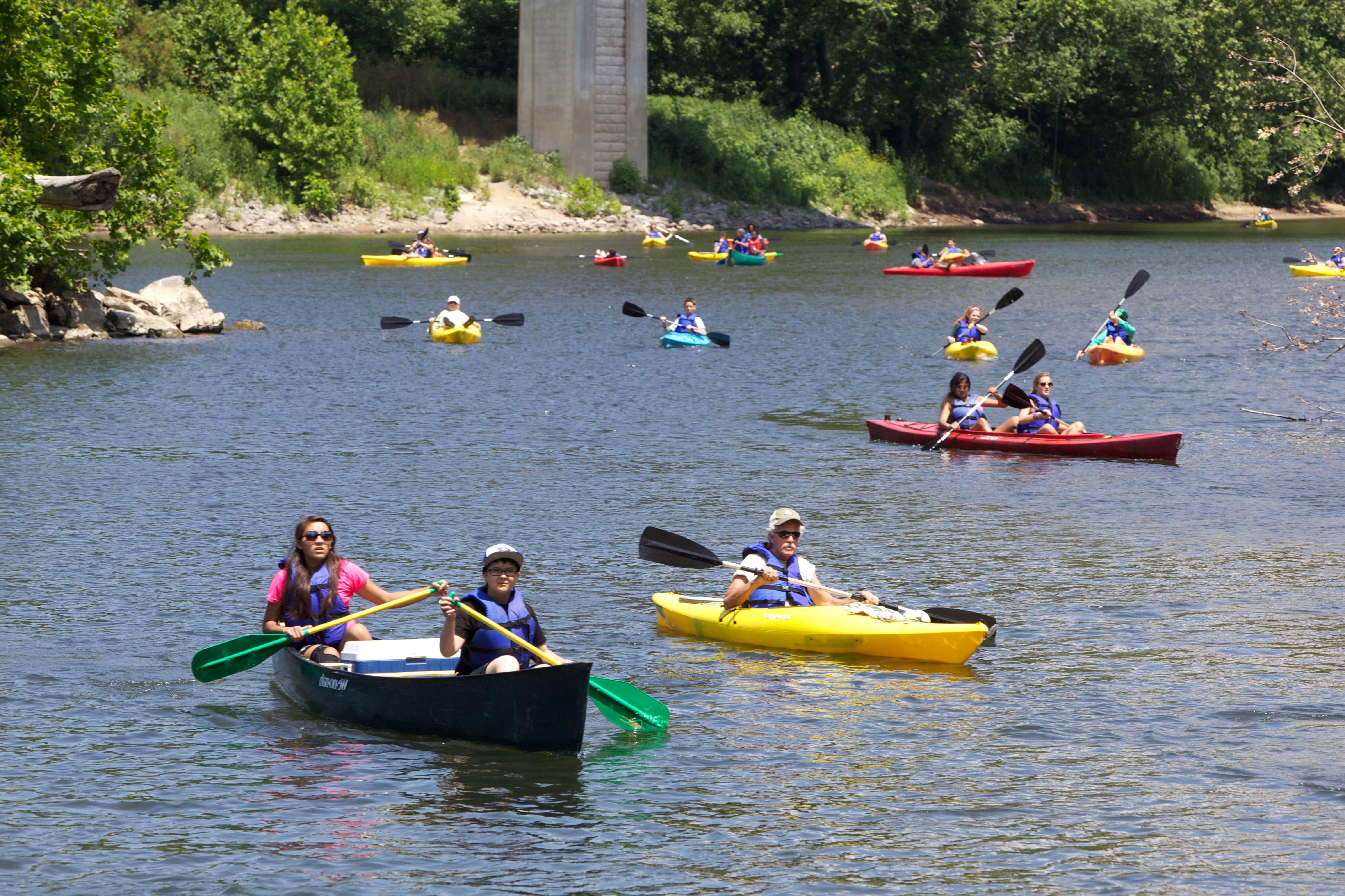 Free photograph; kayaking, river, paddling