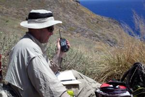 renger, radio, device, man, mountains