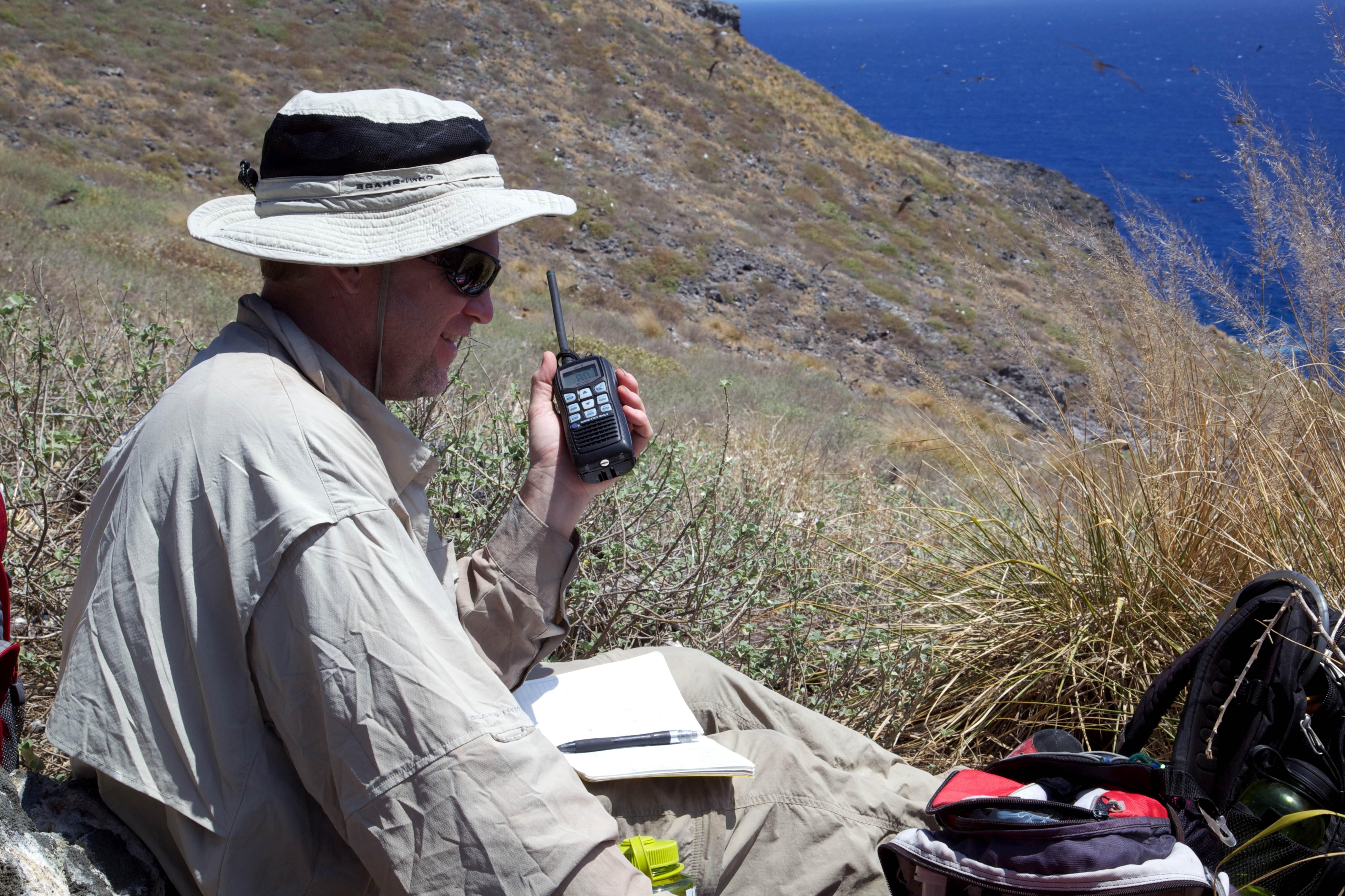 Free photograph; renger, radio, device, man, mountains