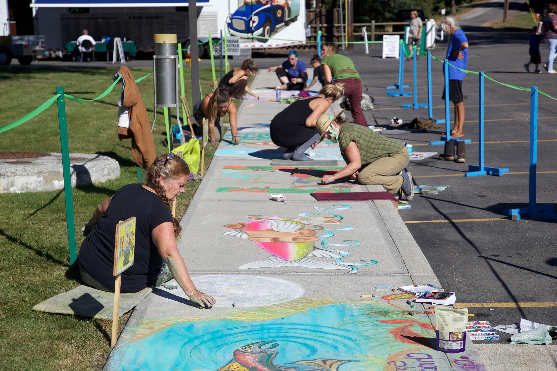 Free photograph; sidewalk, painting, art, painting