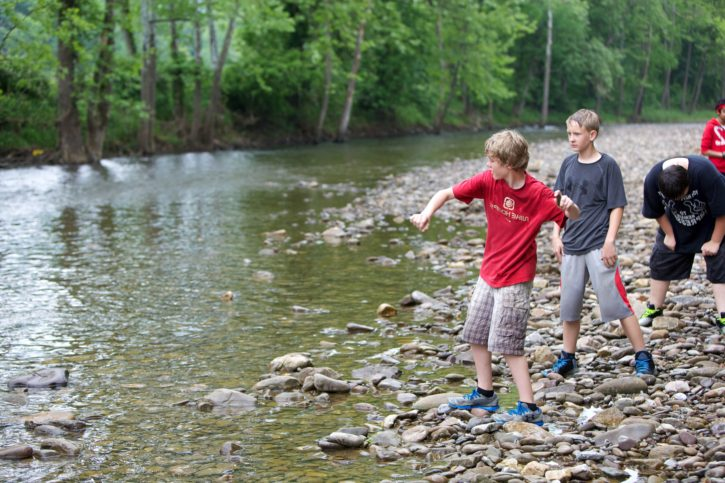 Free Picture Children Play Skipping Stones