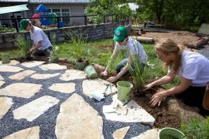 boys, girl, planting, grass
