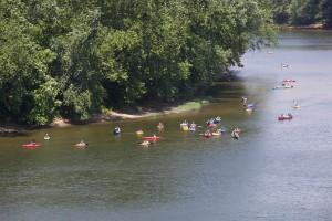 groupe, flotteur, kayak