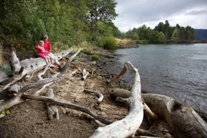 mother, child, nature, river, scenic